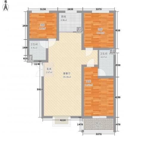 富丽广场3室1厅2卫1厨114.00㎡户型图
