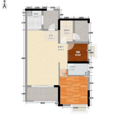 嘉景华庭2室1厅1卫1厨71.19㎡户型图