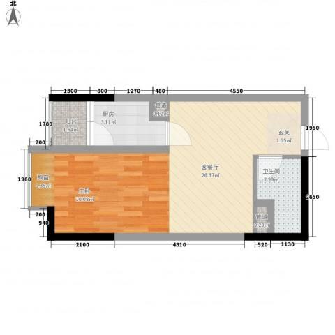 布鲁明顿广场1厅1卫1厨47.00㎡户型图