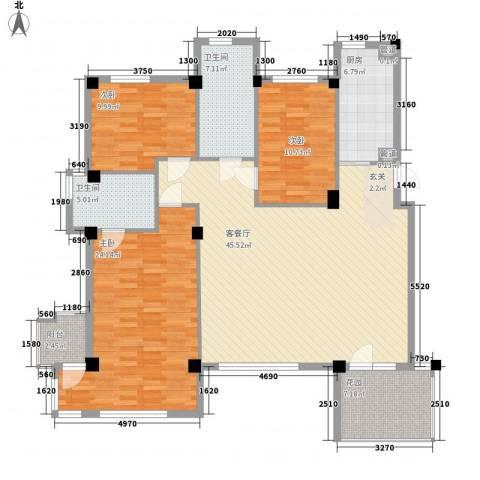 万科上东区3室1厅2卫1厨142.00㎡户型图