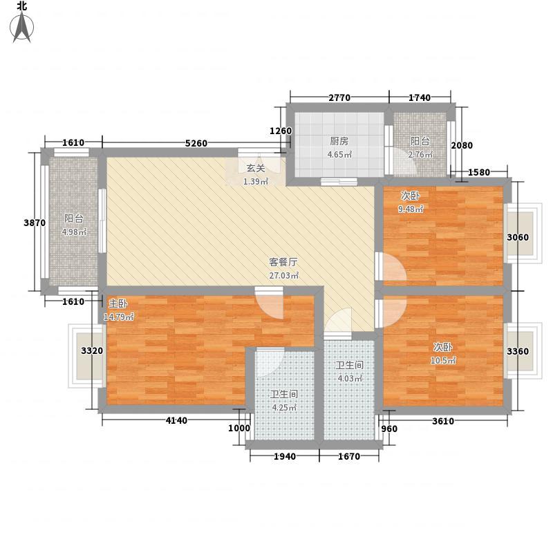 兴隆枫丹白鹭118.90㎡F-2户型3室2厅1卫1厨