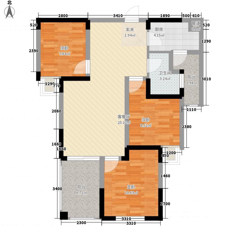 七里香榭户型图83平米三房 3室2厅1卫1厨