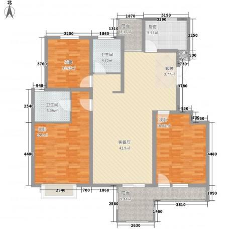 金色家园3室1厅2卫1厨129.00㎡户型图