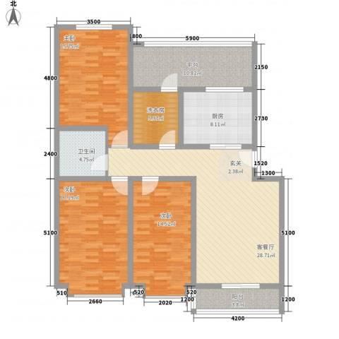 凝瑞苑3室1厅1卫1厨125.00㎡户型图