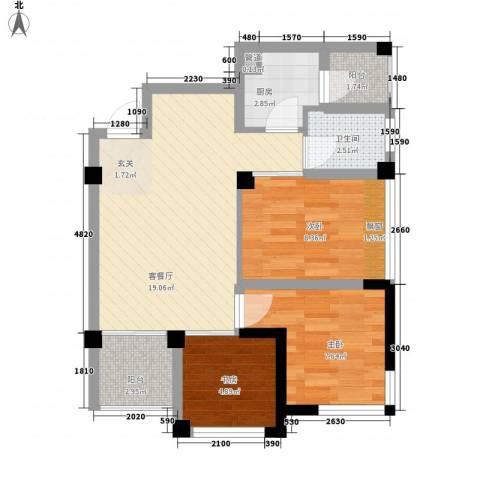 七里香榭3室1厅1卫1厨74.00㎡户型图