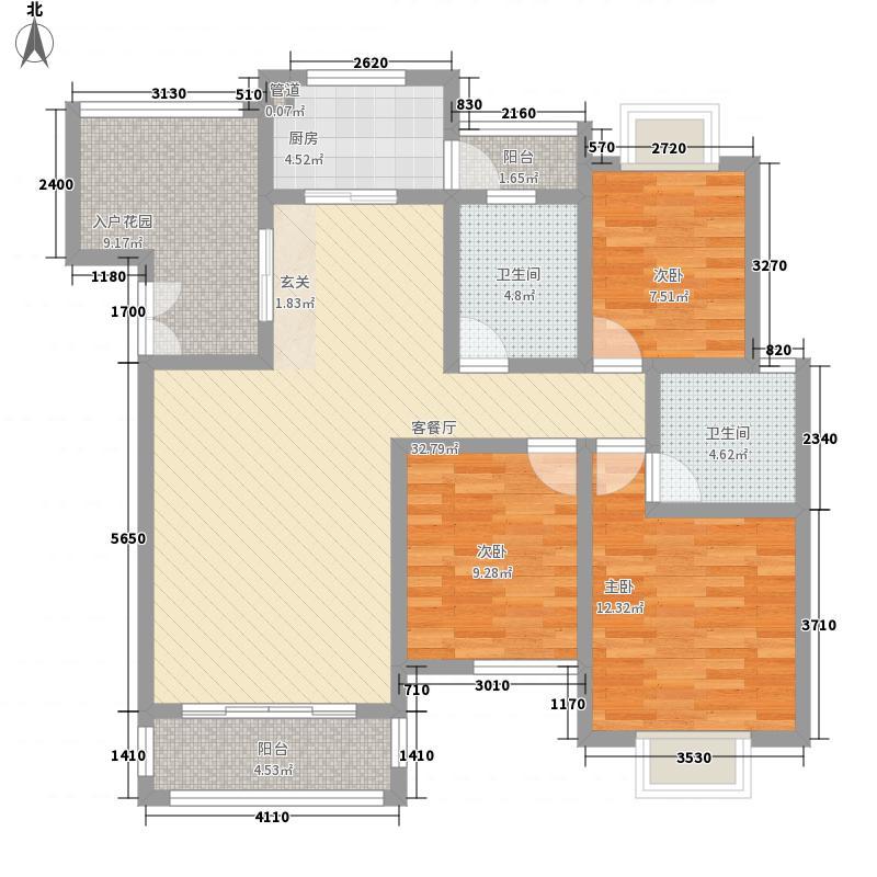 兴隆枫丹白鹭133.80㎡D-8户型3室2厅2卫1厨