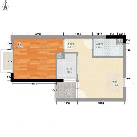 布鲁明顿广场1室1厅1卫1厨52.00㎡户型图