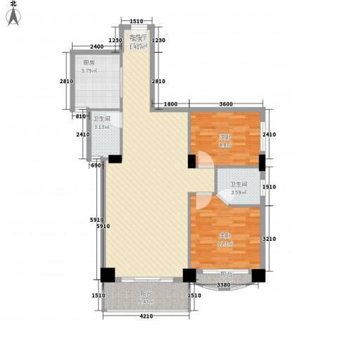 绿苑水岸名筑2室1厅2卫1厨76.67㎡户型图