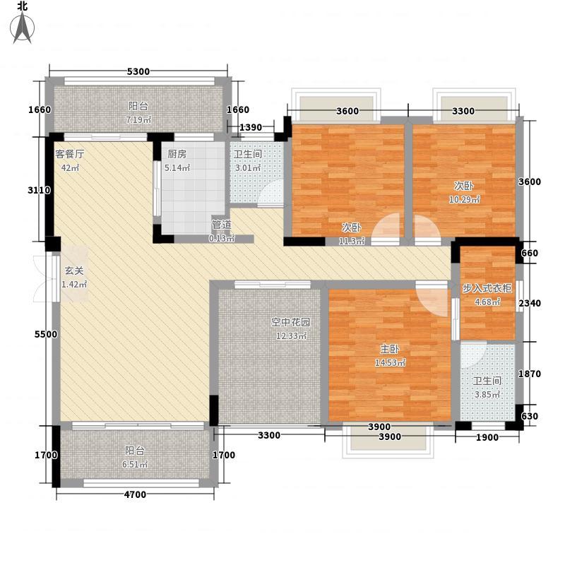 湘台国际花园143.00㎡7栋F户型3室2厅2卫1厨
