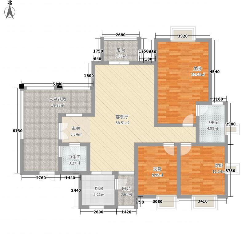 兴隆枫丹白鹭123.60㎡白鹭洲二期户型3室2厅2卫1厨