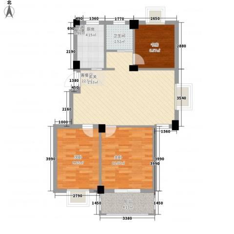万景梅庭3室1厅1卫1厨88.00㎡户型图