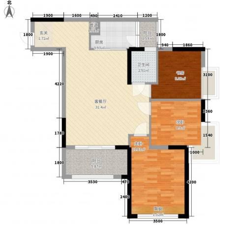 布鲁明顿广场3室1厅1卫1厨76.04㎡户型图