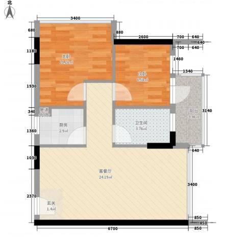 3号线城市公寓2室1厅1卫1厨60.00㎡户型图