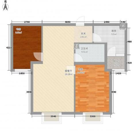 西原泓郡2室1厅1卫1厨92.00㎡户型图