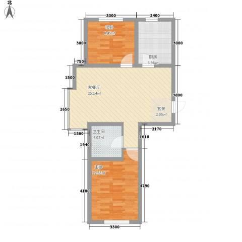 宝地城2室1厅1卫1厨81.00㎡户型图
