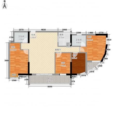东堤水岸4室1厅2卫1厨133.00㎡户型图
