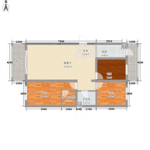 锦绣嘉苑3室1厅1卫1厨115.00㎡户型图