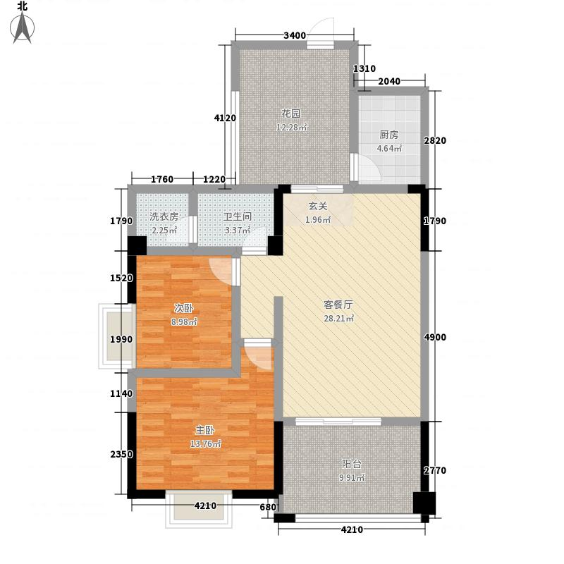 阳光城7.48㎡三期L2户型2室2厅1卫1厨