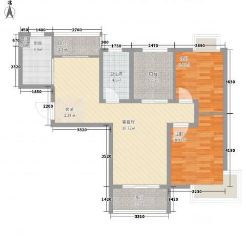 景隆现代城2室1厅1卫1厨97.00㎡户型图