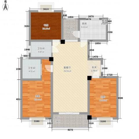 香梅花园3室1厅2卫1厨135.00㎡户型图