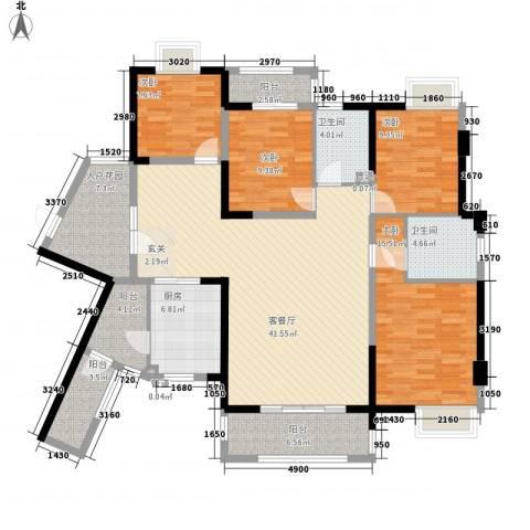 欣华花园二期4室1厅2卫1厨177.00㎡户型图