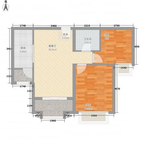朗�骏景2室1厅1卫1厨78.00㎡户型图