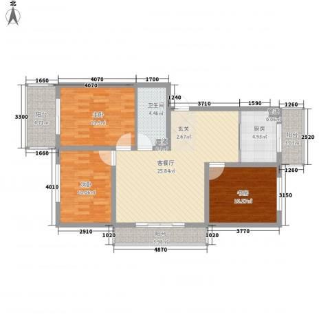 锦绣嘉苑3室1厅1卫1厨110.00㎡户型图