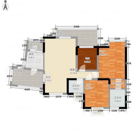 杰邦荔枝园3室1厅2卫1厨104.17㎡户型图