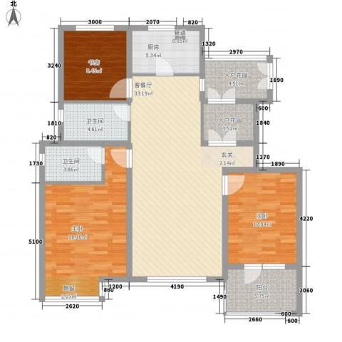 怡众名城3室1厅2卫1厨125.00㎡户型图