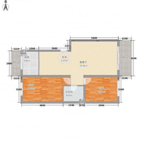 锦绣嘉苑2室1厅1卫1厨108.00㎡户型图