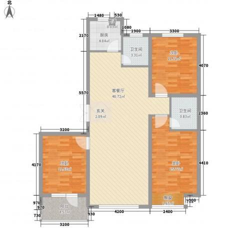 怡众名城3室1厅2卫1厨127.00㎡户型图