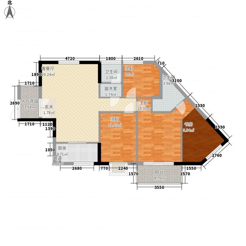 金侨尚东区12.44㎡1期1栋标准层C-04户型4室2厅2卫