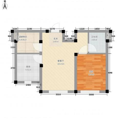 阳光上城雅居1室1厅1卫1厨55.00㎡户型图