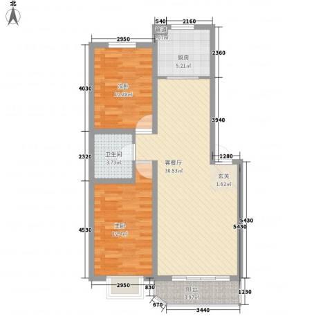 锦绣嘉苑2室1厅1卫1厨94.00㎡户型图