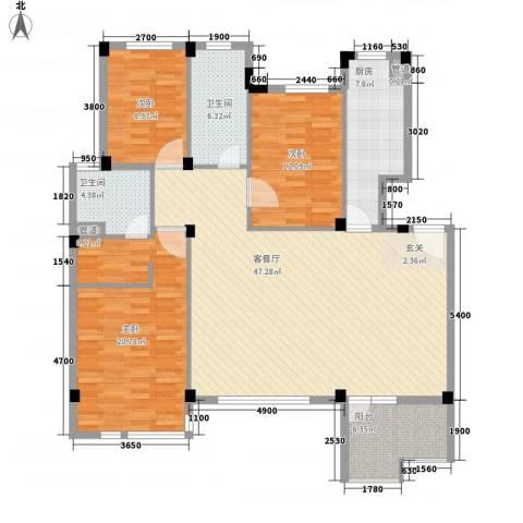 万恒・愿景3室1厅2卫1厨159.00㎡户型图