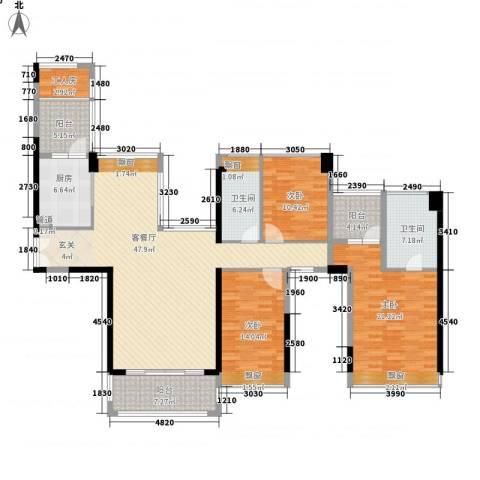 现代经典花园3室1厅2卫1厨186.00㎡户型图