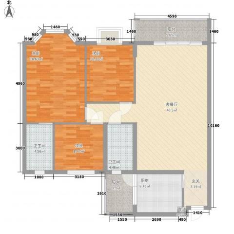 东丽花园3室1厅2卫1厨143.00㎡户型图