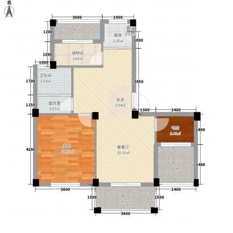 越通美院2室1厅1卫1厨95.00㎡户型图