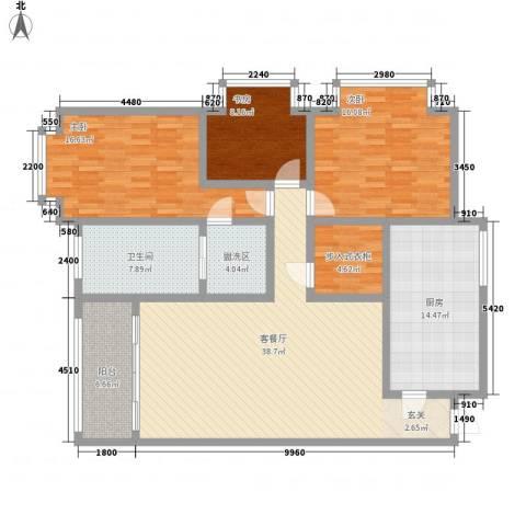海关宿舍3室1厅1卫1厨168.00㎡户型图