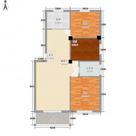 国骅东方湾邸3室1厅1卫1厨83.19㎡户型图