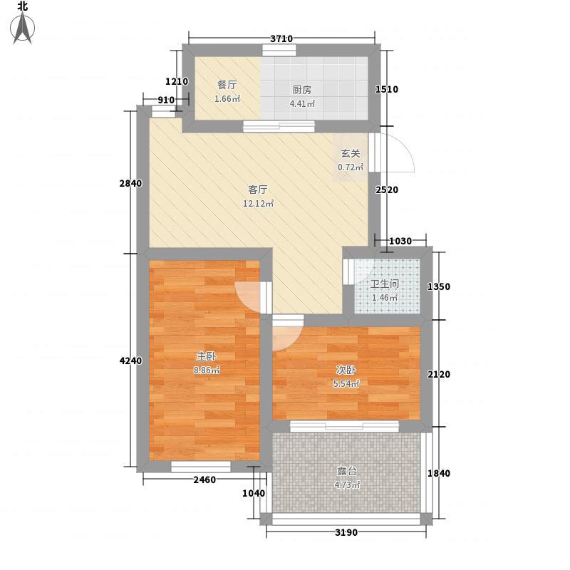 玉泉花园56.14㎡F户型2室1厅1卫1厨