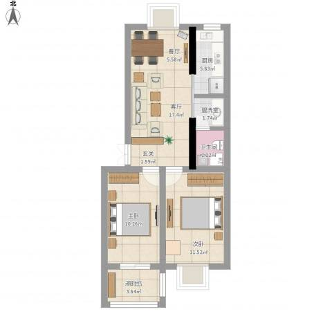 陈渡新苑2室1厅1卫1厨76.00㎡户型图