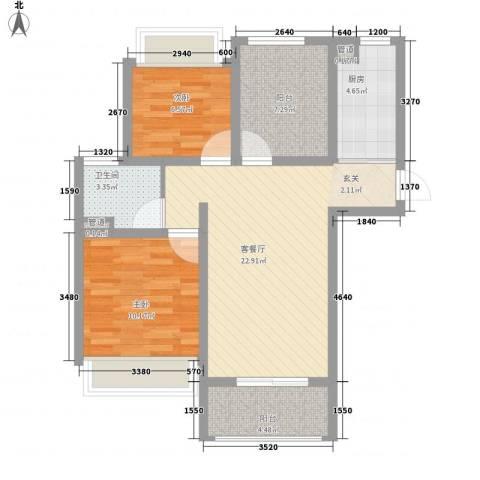 绿地启航社5期2室1厅1卫1厨87.00㎡户型图