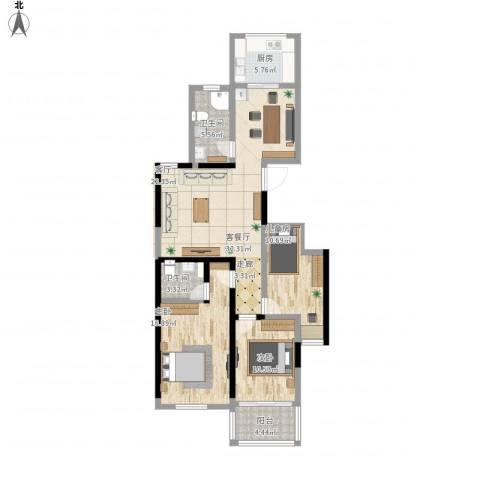 文泰康城3室1厅2卫1厨133.00㎡户型图