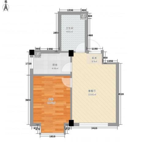 达波尔国际公寓1室1厅1卫1厨50.00㎡户型图