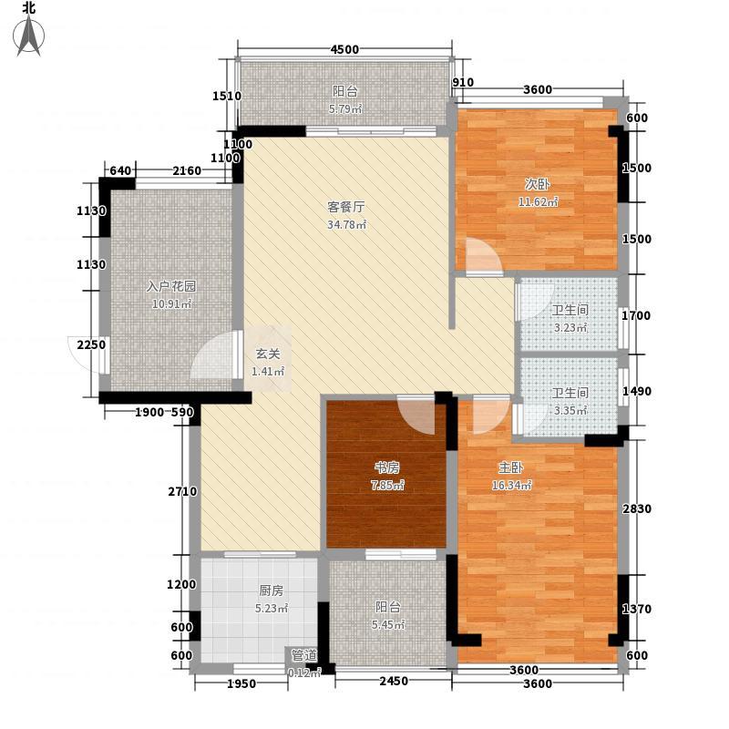 新景・未来城124.22㎡7栋B户型3室2厅2卫1厨