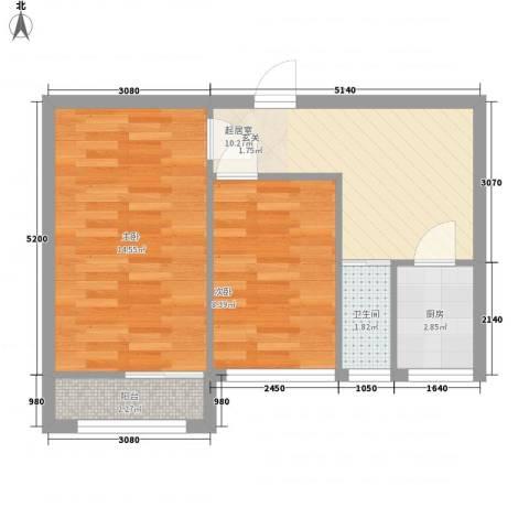 新外大街甲8号院2室0厅1卫1厨57.00㎡户型图
