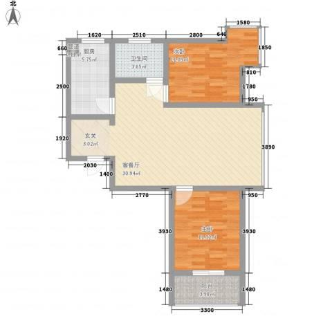 碧水春天2室1厅1卫1厨95.00㎡户型图