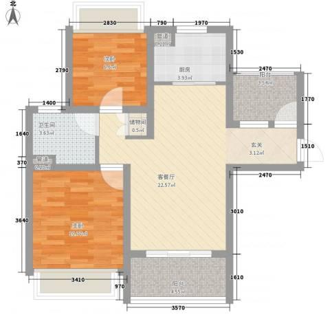 绿地启航社5期2室1厅1卫1厨88.00㎡户型图