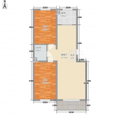 福园2室1厅1卫1厨114.00㎡户型图
